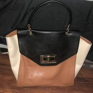 Express Brown/Black/Cream Faux Leather Tote